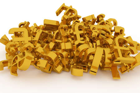 Abstract CGI typography, money or profit currency sign. Good for web page, graphic design, texture, background. Gold color 3D rendering.