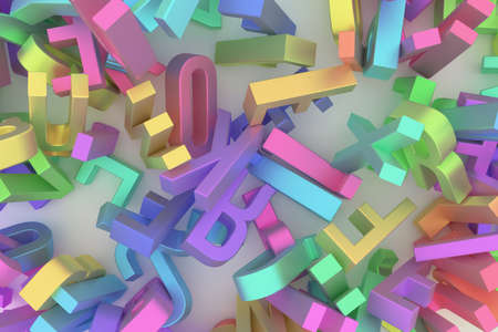 Letter of ABC, alphabetic character. Good for web page, wallpaper, graphic design, catalog, texture or background. Colorful 3D rendering.