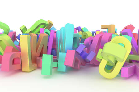 CGI typography, good for design texture or background, alphabet, letter of ABC. Colorful 3D rendering. Stack, graphic, style & pattern. Фото со стока