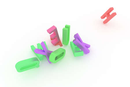 Abstract CGI typography, letter of ABC alphabetic character. Good for web page, graphic design, texture, background. Colorful 3D rendering. Digital, word, symbol & kindergarten. Фото со стока