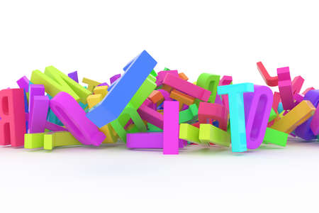 Alphabet, letter of ABC, illustrations of CGI typography, good for graphic design, wallpapers, booklets. Colorful 3D rendering. Digital, learn, web & mess.