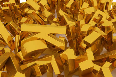 Alphabet, letter of ABC. Good for web page, wallpaper, graphic design, catalog, texture or background. Golden 3D rendering. Shape, creativity, symbol & random. Фото со стока
