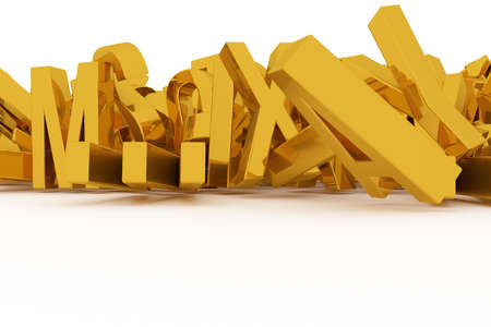 Alphabetic character for letter of ABC, illustrations of CGI typography, good for graphic design, wallpapers, booklets. Gold color 3D rendering. Shape, kindergarten, digital & symbol. Imagens