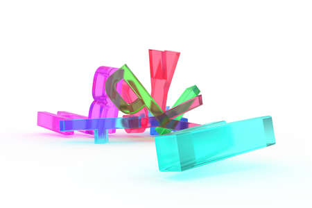 Abstract CGI typography, letter of ABC alphabetic character. Good for web page, graphic design, texture, background. Colorful transparent plastic or glass 3D rendering.