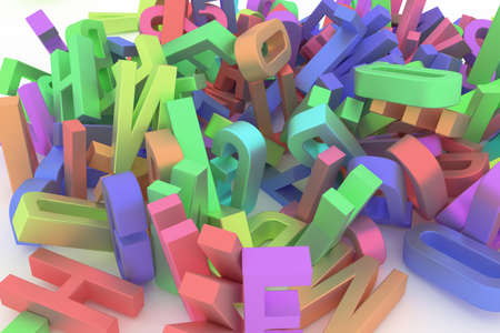 Alphabet, letter of ABC. Good for web page, wallpaper, graphic design, catalog, texture or background. Colorful 3D rendering. Education, kindergarten, concept & caption.