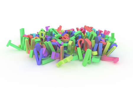 Background abstract CGI typography, good for design, alphabetic character for letter of ABC. Colorful 3D rendering. Random, artwork, text & modeling.