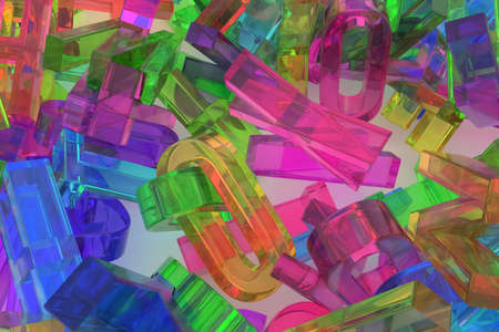 CGI typography, good for design texture or background, alphabet, letter of ABC. Colorful transparent plastic or glass 3D rendering. Abstract, web, communication & business.