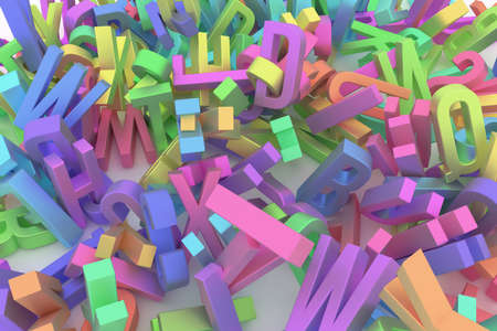 Background abstract CGI typography, good for design, alphabet, letter of ABC. Colorful 3D rendering. 스톡 콘텐츠