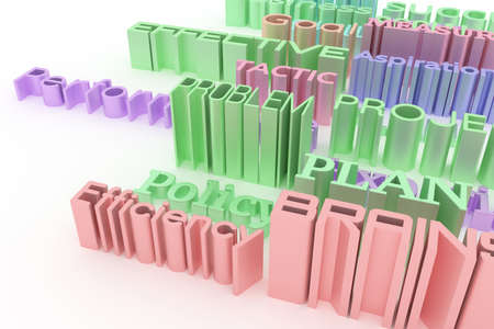 Business related keywords, illustrations of CGI typography.  Colorful 3D rendering. Skill, performance, experience, system.
