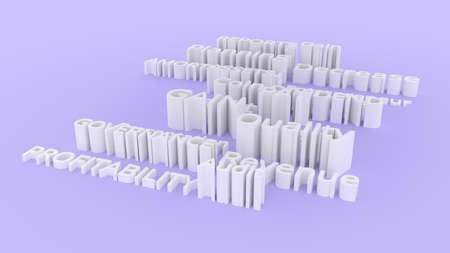 Abstract keywords business related CGI typography.  Gray or white 3D rendering. Gain, amortization, entrepreneur, dividend.