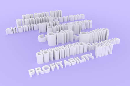 Background abstract, business related keywords CGI typography.  Gray or white 3D rendering. Planning, reports, amortization, assets.