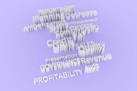 Gray or white 3D rendering. Background abstract, business related keywords CGI typography.  Coin, amortization, planning, pat.