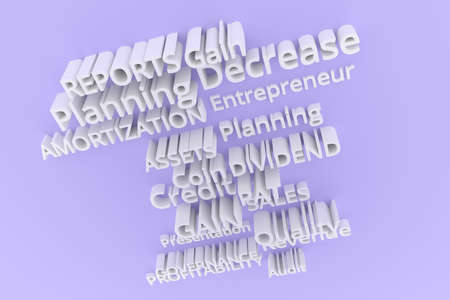 Keywords, business related, CGI typography.  Gray or white 3D rendering. Quality, decrease, coin, revenue.