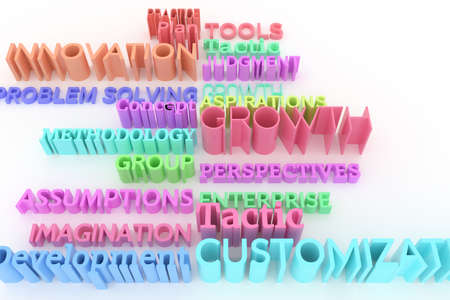CGI typography, business related keywords.  Colorful 3D rendering. Tools, innovation, imagination, plan.