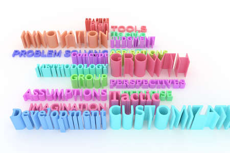 CGI typography, keywords, business related.  Colorful 3D rendering. Growth, customization, tools, innovation. Stockfoto