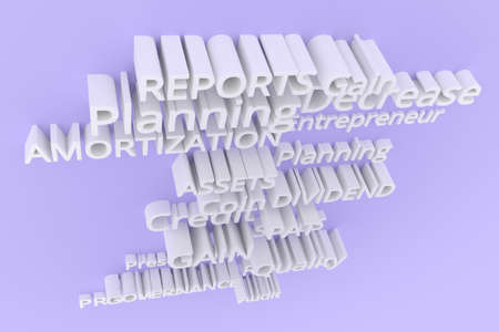 Gray or white 3D rendering. Background abstract, business related keywords CGI typography.  Planning, amortization, governance, profitability. 写真素材