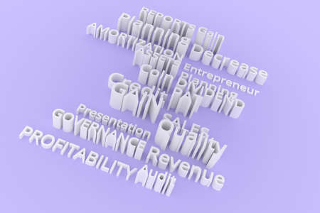 CGI typography, keywords, business related.  Gray or white 3D rendering. Quality, coin, decrease, governance. 写真素材
