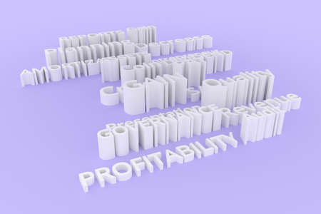 Keywords, business related, CGI typography.  Gray or white 3D rendering. Assets, reports, sales, quality. 写真素材