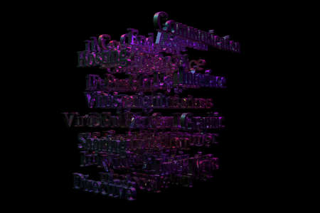 CGI typography with dark background, keywords, computer or IT related. Decorative, illustrations. For design texture, background. 3D rendering.