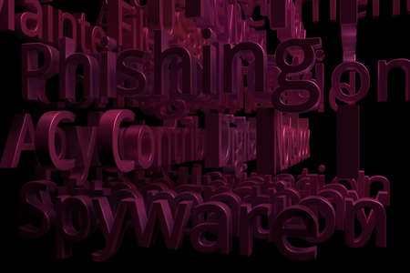 3D rendering. Keywords, computer or IT related, CGI typography with dark background. For web page, wallpaper, graphic design, catalog, texture or background. 스톡 콘텐츠