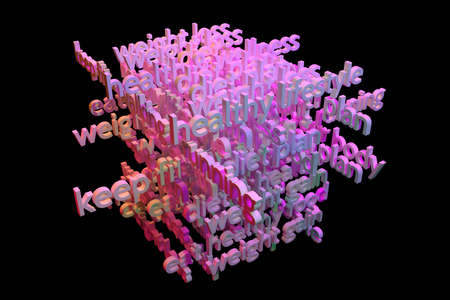 3D rendering. CGI typography with dark background, health related keywords cloud, for design texture or background.