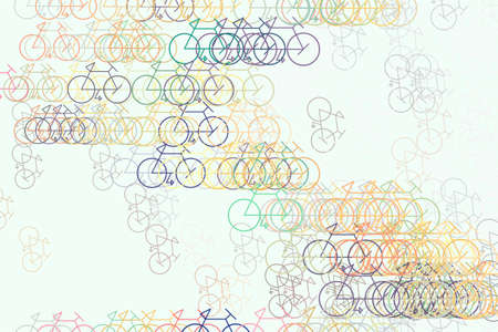 Background or backdrop, outline of bicycle hand drawn, good for design texture. Cartoon style vector. Stock Illustratie