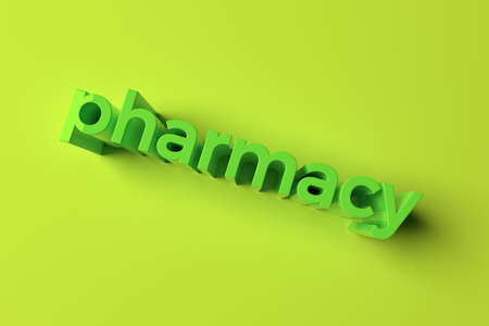 Pharmacy, background abstract, CGI keywords typography, for design & graphic resource. 3D rendering.