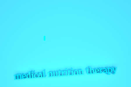 Nutrition therapy, 3D rendering. Typography, CGI keywords, for design texture or background.