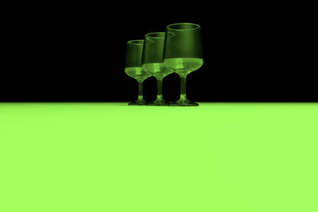 Transparent glasses with color lighting background. 3D rendering.