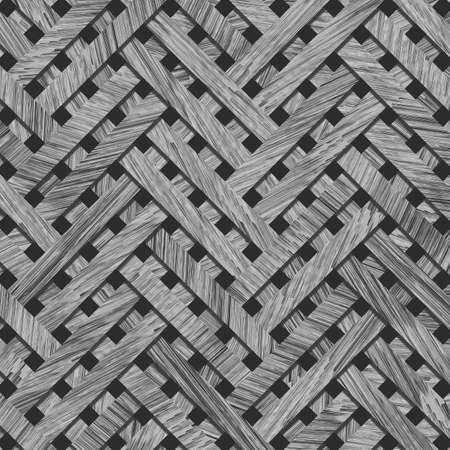 Background or backdrop, woven mat or rattan virtual geometric pattern, for design texture. Gray or black and white b&w