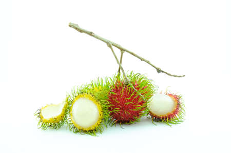 Sweet and delicious red fresh rambutan, isolated on white background.