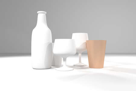 Bottle & glass, market differentiation, outstanding stand out from the crowd, for design texture or title background. 3D render.