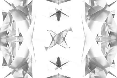 Gray or black and white b&w Backdrop, random geometric, CGI. For graphic design, catalog, texture or background. 3D render.