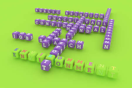 Environment, business keyword crossword. Graphic resource, texture or background, for web page or design. 3D rendering.