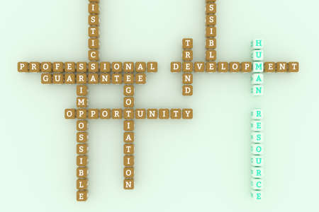 Human Resource, business keyword crossword. Graphic resource, texture or background, for web page or design. 3D rendering. Reklamní fotografie