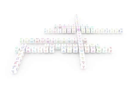 Mission, business keyword crossword. Graphic resource, texture or background, for web page or design. 3D rendering. Reklamní fotografie