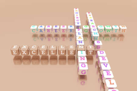 Excellent, business keyword crossword. Graphic resource, texture or background, for web page or design. 3D rendering.