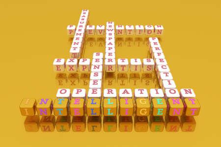 Intelligent, business keyword crossword. Graphic resource, texture or background, for web page or design. 3D rendering. Reklamní fotografie