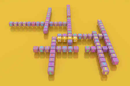 Mind, business keyword crossword. Graphic resource, texture or background, for web page or design. 3D rendering.
