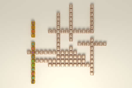 Time Management, business keyword crossword. Graphic resource, texture or background, for web page or design. 3D rendering.