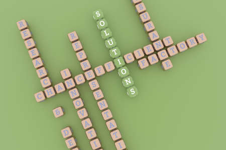 Solutions, business keyword crossword. Graphic resource, texture or background, for web page or design. 3D rendering.