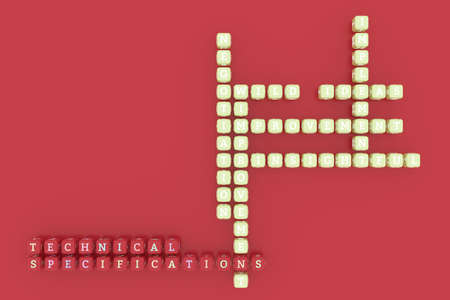 Technical Specifications, business keyword crossword. Graphic resource, texture or background, for web page or design. 3D rendering.