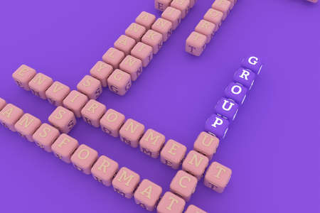 Group, business keyword crossword. Graphic resource, texture or background, for web page or design. 3D rendering.