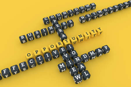 Opportunity, business keyword crossword. Graphic resource, texture or background, for web page or design. 3D rendering. Reklamní fotografie