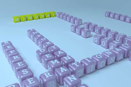 Mindmap, business keyword crossword. Graphic resource, texture or background, for web page or design. 3D rendering. Reklamní fotografie