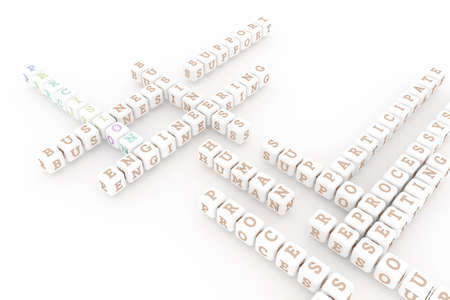 Precision, business keyword crossword. Graphic resource, texture or background, for web page or design. 3D rendering.
