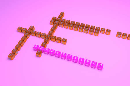 Perspectives, business keyword crossword. Graphic resource, texture or background, for web page or design. 3D rendering.