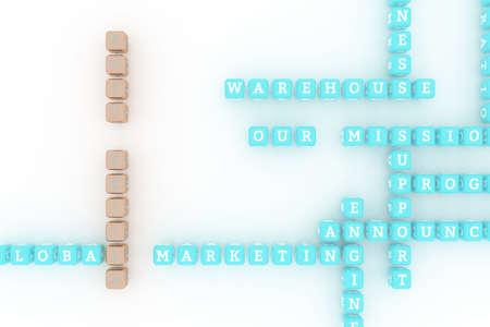 Soft Skills, business keyword crossword. Graphic resource, texture or background, for web page or design. 3D rendering. Reklamní fotografie