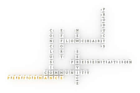 Performance, business keyword crossword. Graphic resource, texture or background, for web page or design. 3D rendering. Reklamní fotografie - 123537659