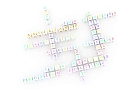 Assistance, business keyword crossword. Graphic resource, texture or background, for web page or design. 3D rendering. Reklamní fotografie - 123537670